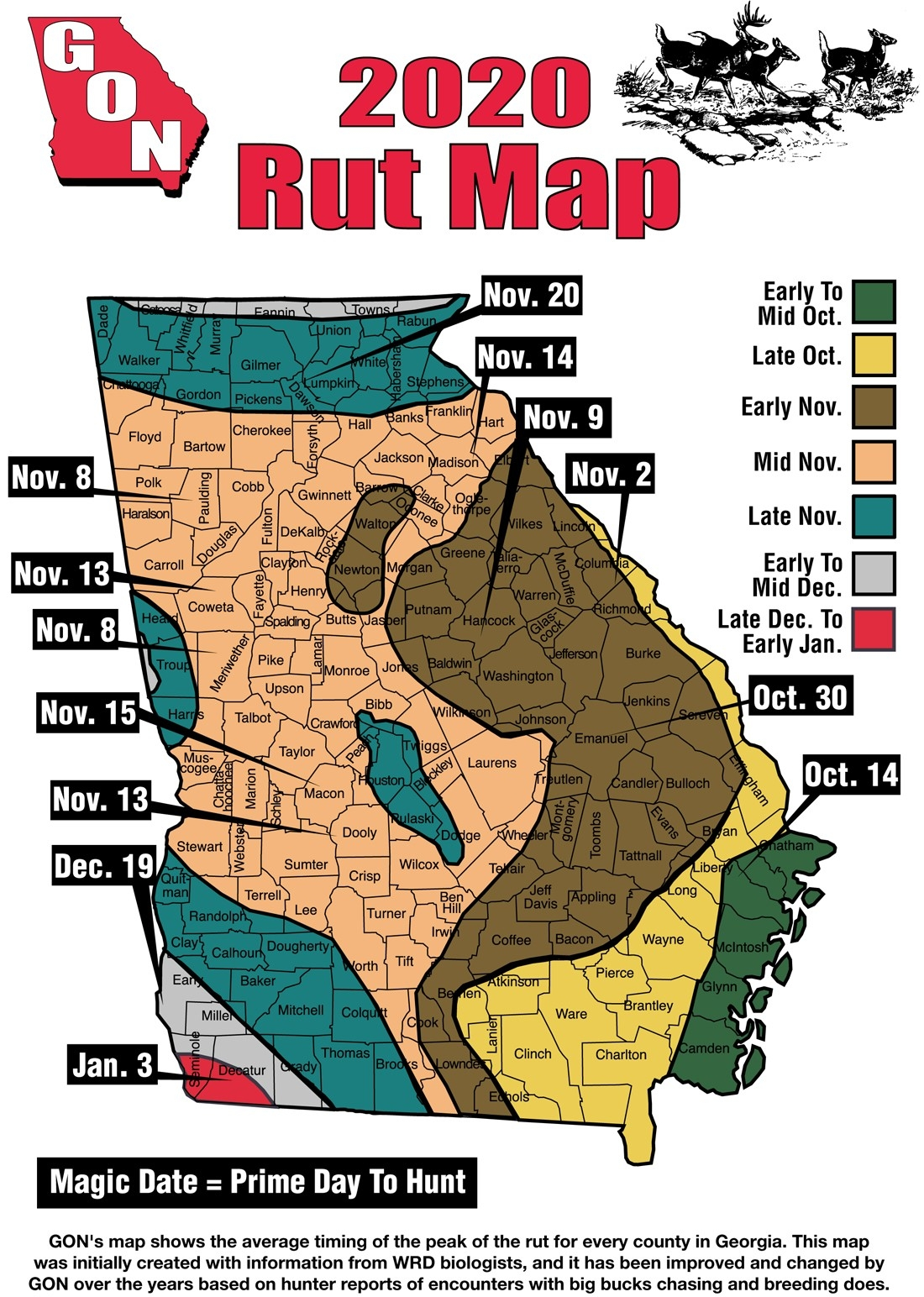 2020 Georgia Rut Map  Ga Deer Rut Dates By County