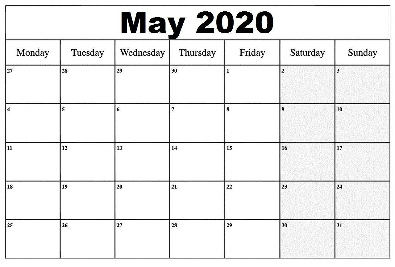 2020 May Calendar In 2020 | Printable Calendar Word  May 2020 Calendar Printable