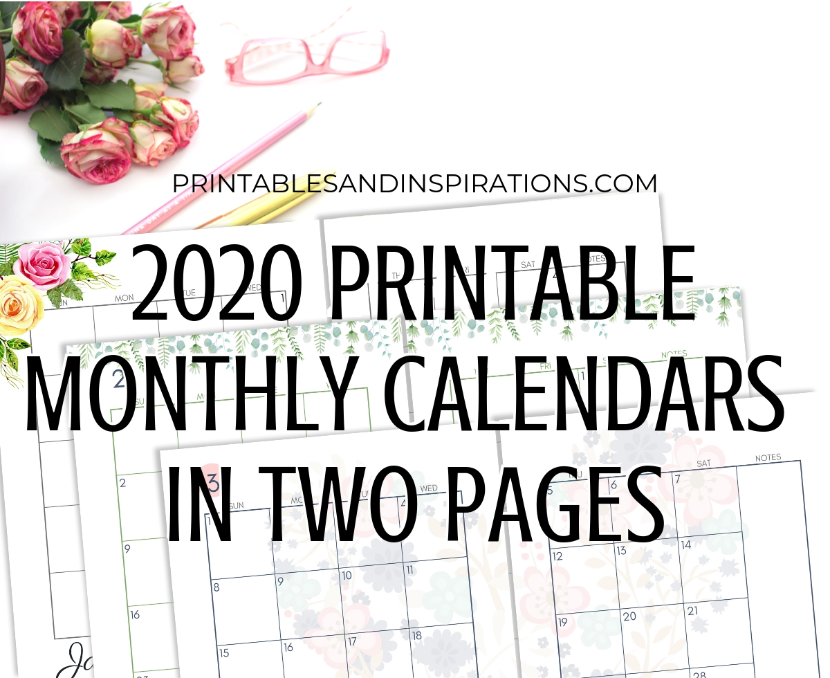 2020 Monthly Calendar Two Page Spread – Free Printable  Printable 2 Month Calendar