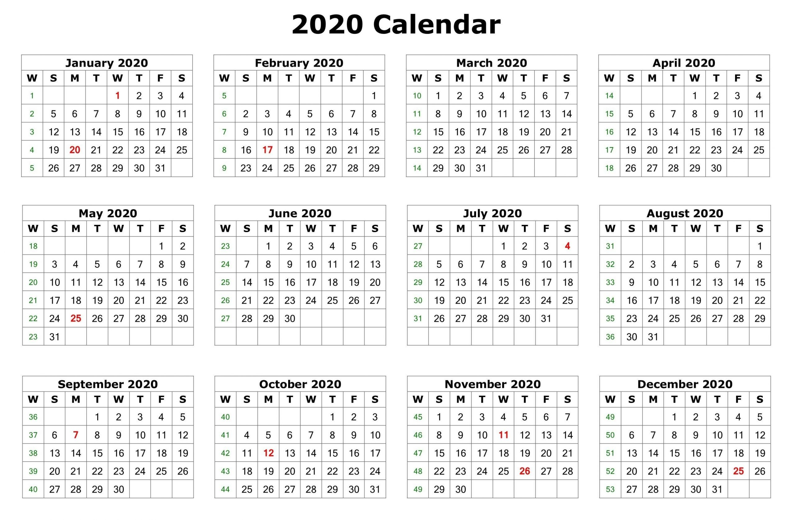 2020 One Page Calendar Printable | Calendar 2020 | 12 Month  Free Printable Calendar 12 Months