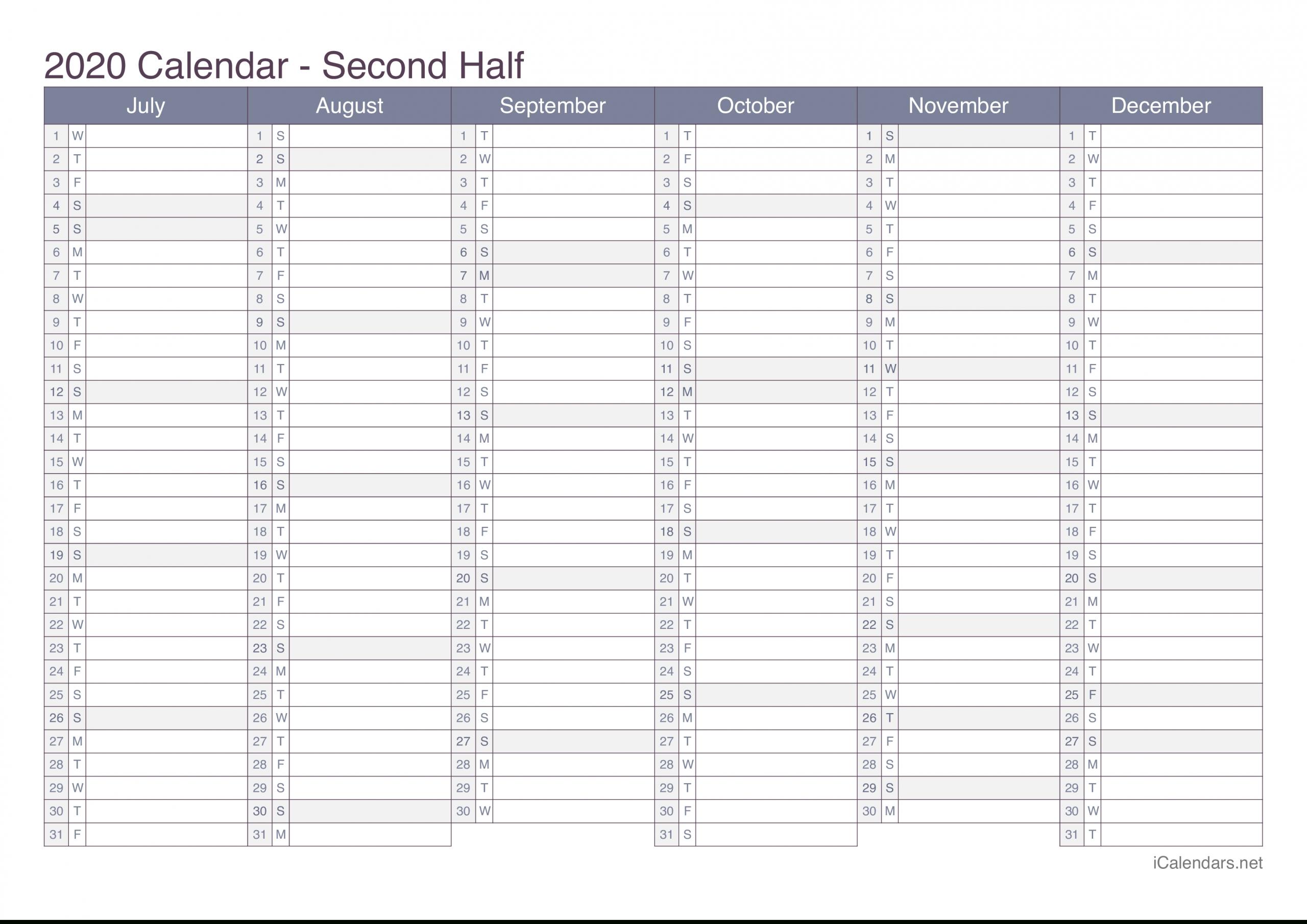 2020 Printable Calendar - Pdf Or Excel - Icalendars  Printable Calendars With Lines