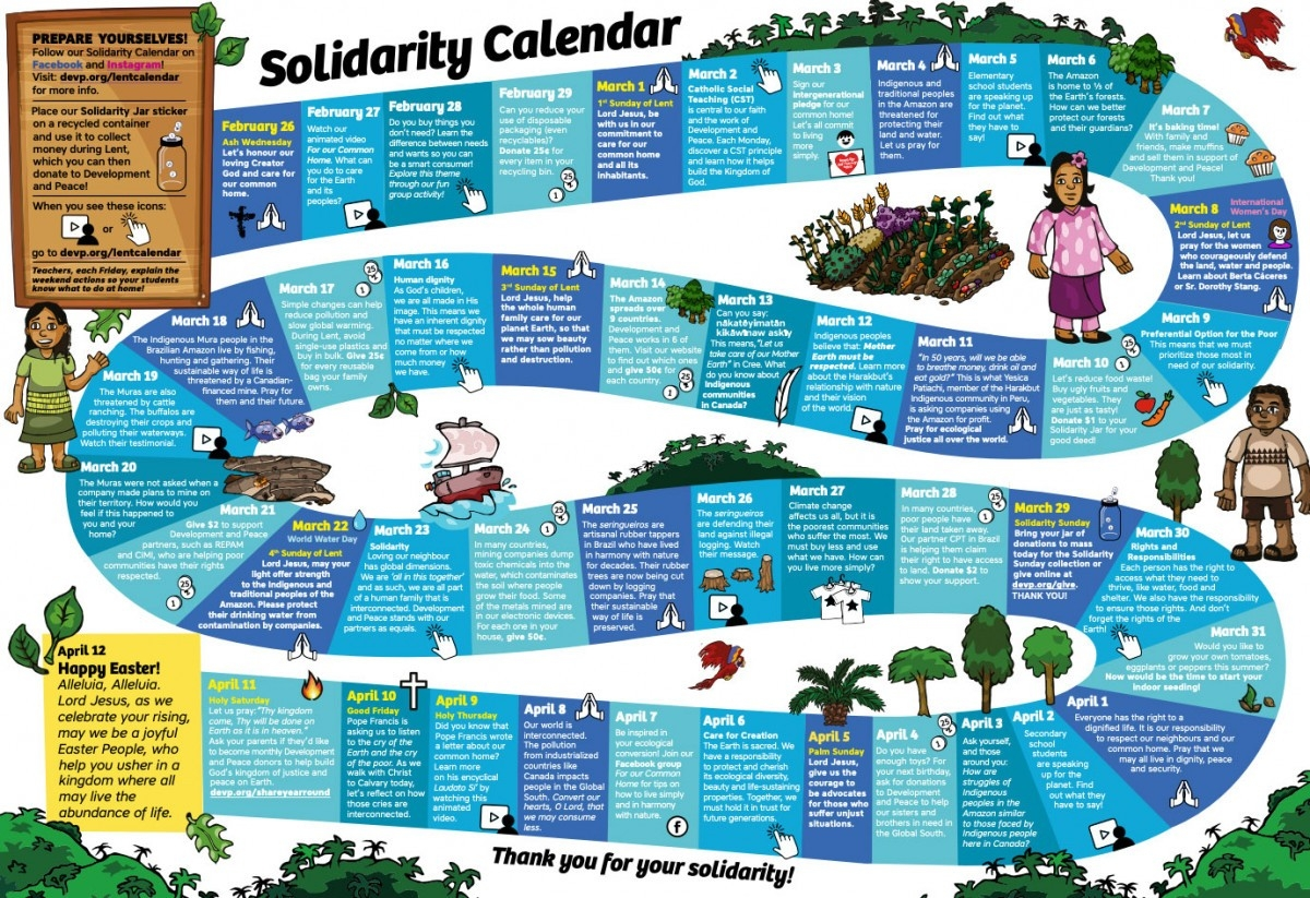2020 Solidarity Calendar | Development And Peace  Catholic Calendar Of Lent In 2020