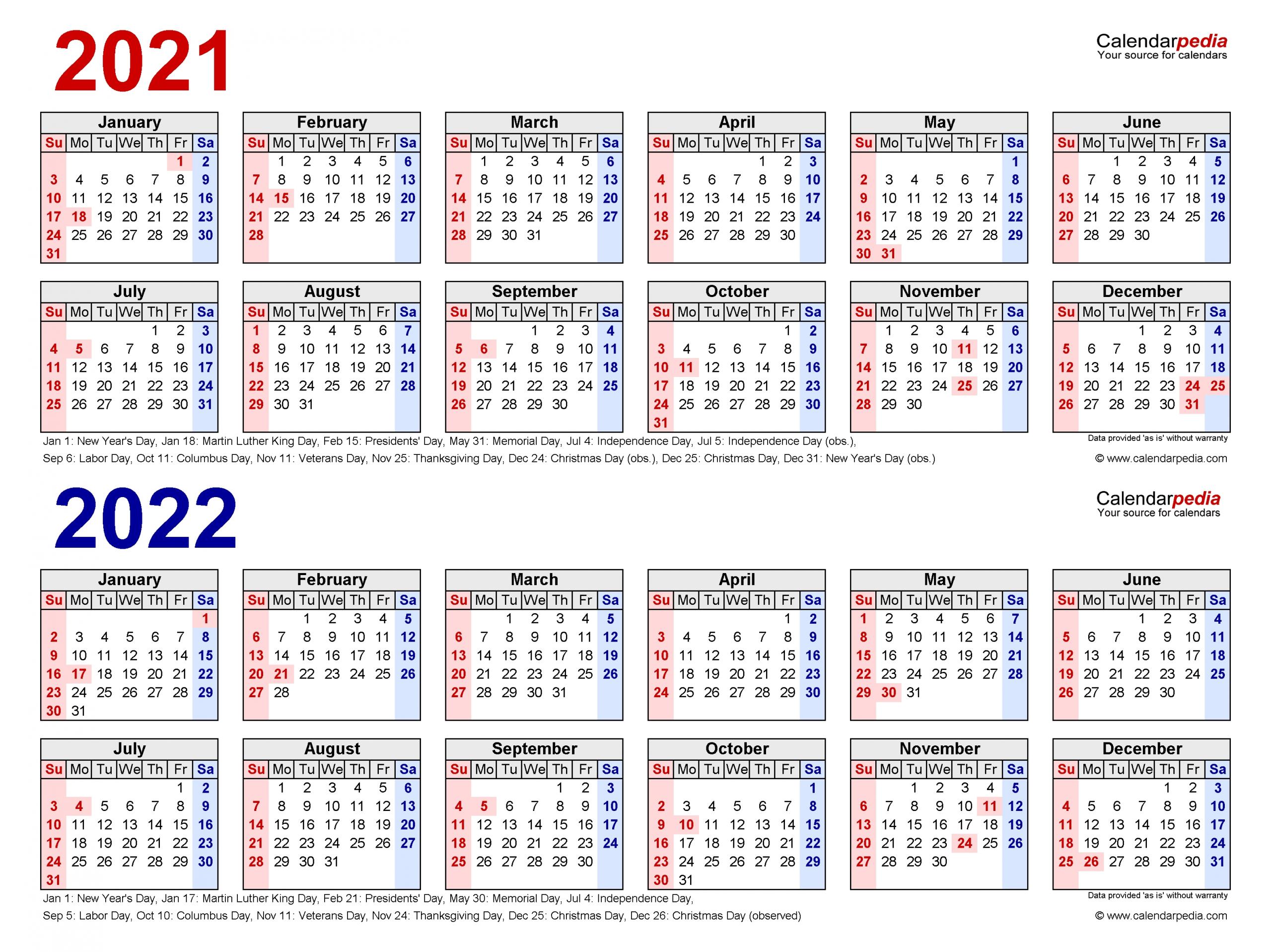2021-2022 Two Year Calendar - Free Printable Excel Templates  Checkbook Size Calendar Printable