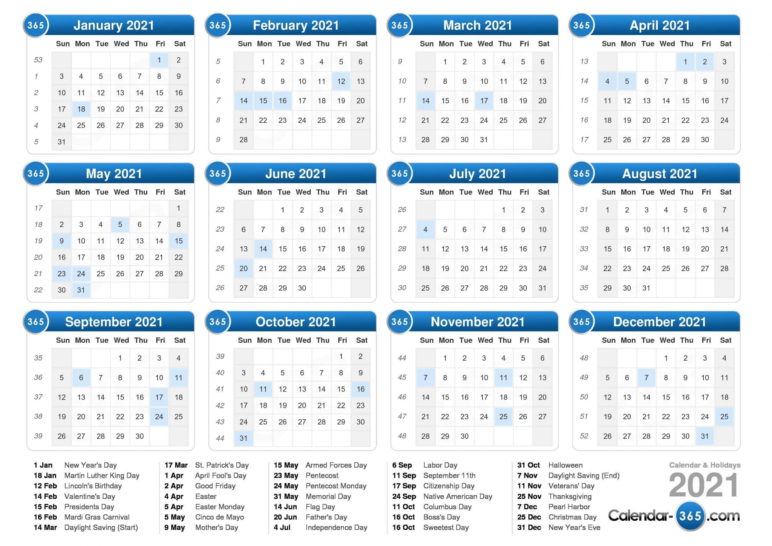 2021 Calendar  2021 Calendar Weeks Numbered