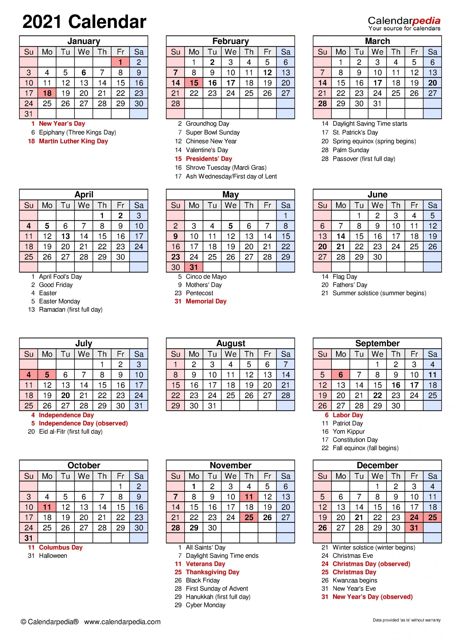 2021 Calendar - Free Printable Excel Templates - Calendarpedia  Free Lenten Calendar 2021