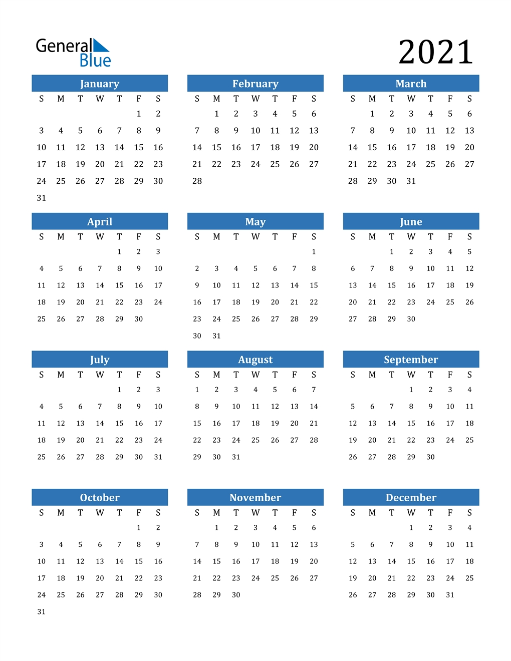 2021 Calendar (Pdf, Word, Excel)  2021 Yearly Calendar Free Pdf Printable