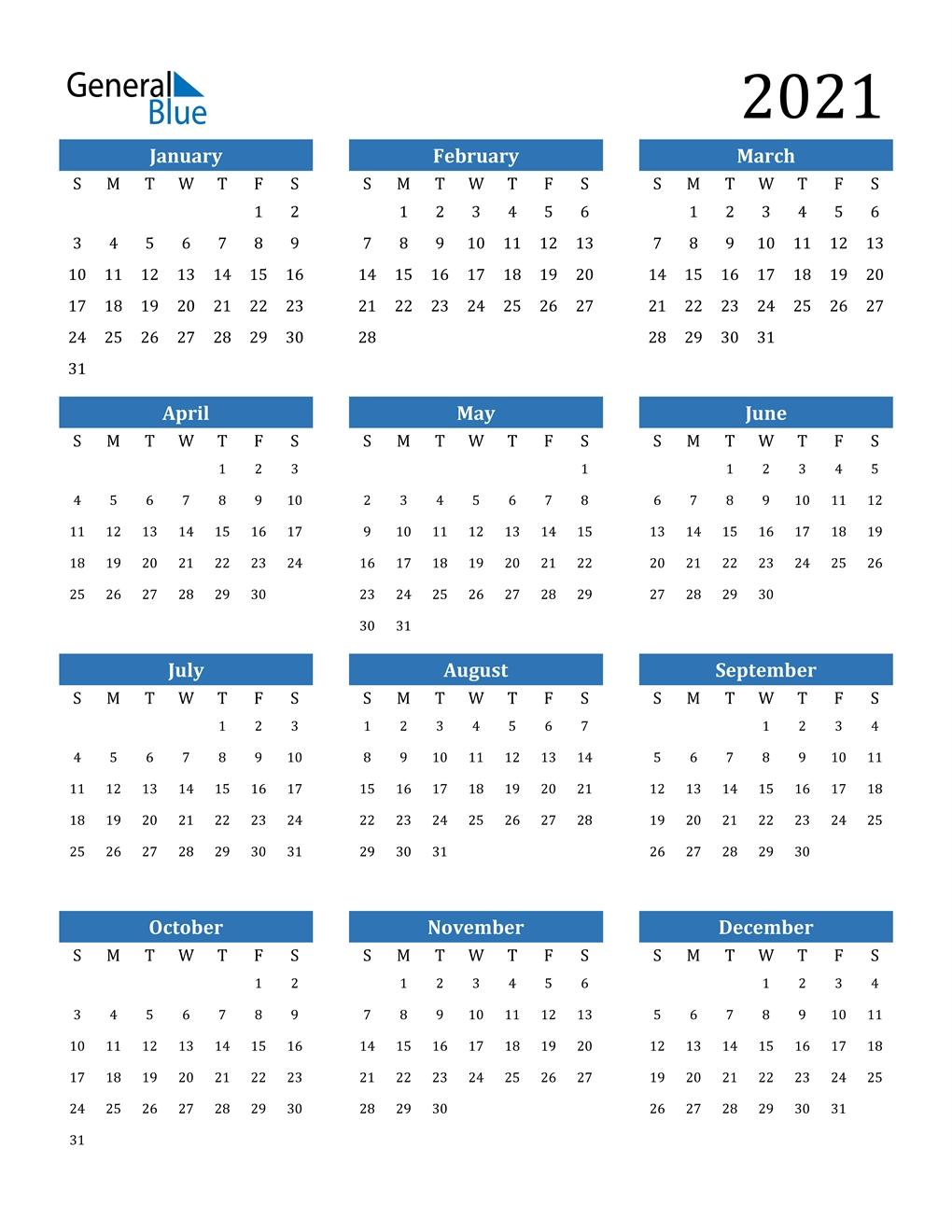 2021 Calendar (Pdf, Word, Excel)  Calendar 2021 Free Printable