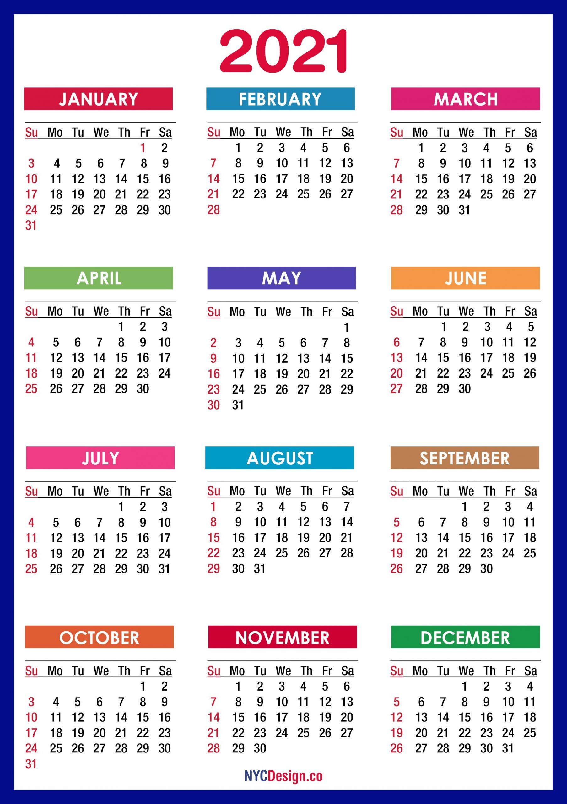 2021 Calendar Printable Free, Pdf, Colorful, Blue, Green  Calandar 2021 Pdf