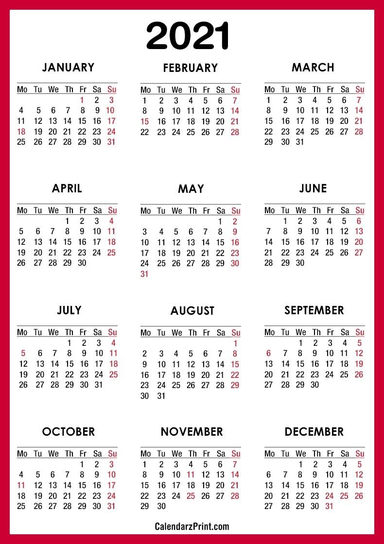 2021 Calendar Printable Free With Usa Holidays, Red – Monday  Free 2021 Calendar Printable Free
