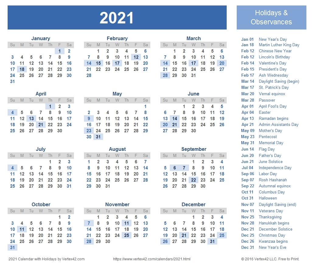 2021 Calendar Templates And Images  2021 Free Calendar Printable