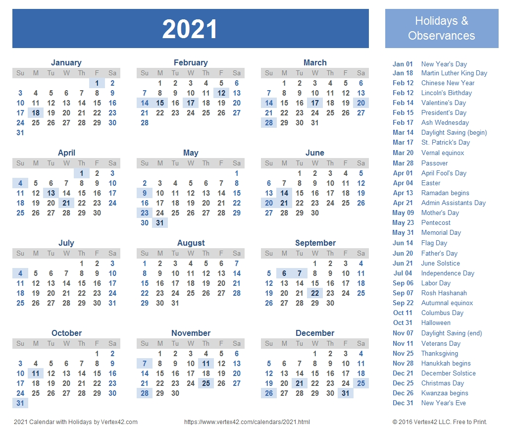 2021 Calendar Templates And Images  2021 Yearly Calendar Free Pdf Printable