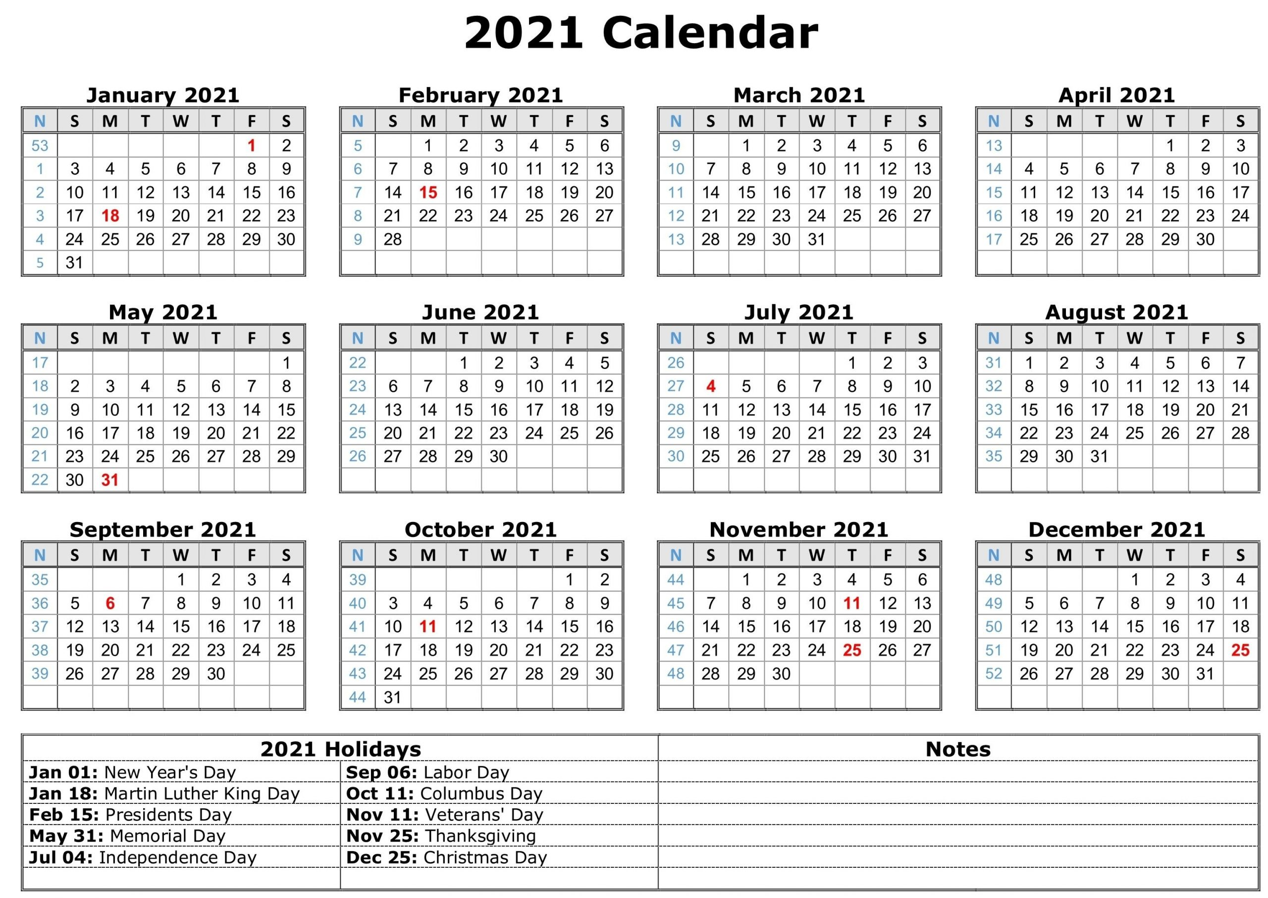 2021 Calendar With Holidays | Free Calendar Template  2021 Yearly Calendar Free Pdf Printable