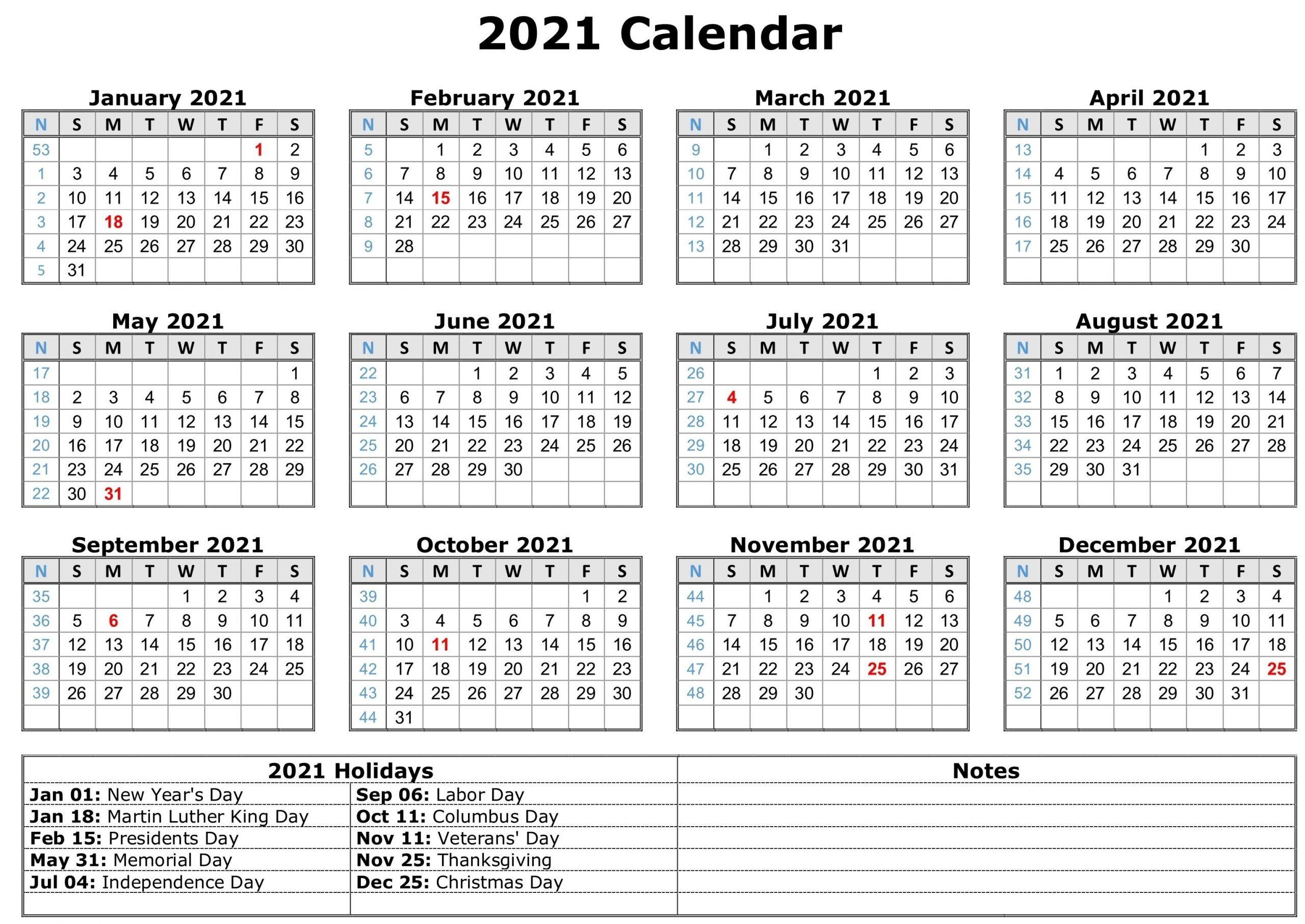 2021 Calendar With Holidays | Free Calendar Template  Free Printable 2021 Calendar