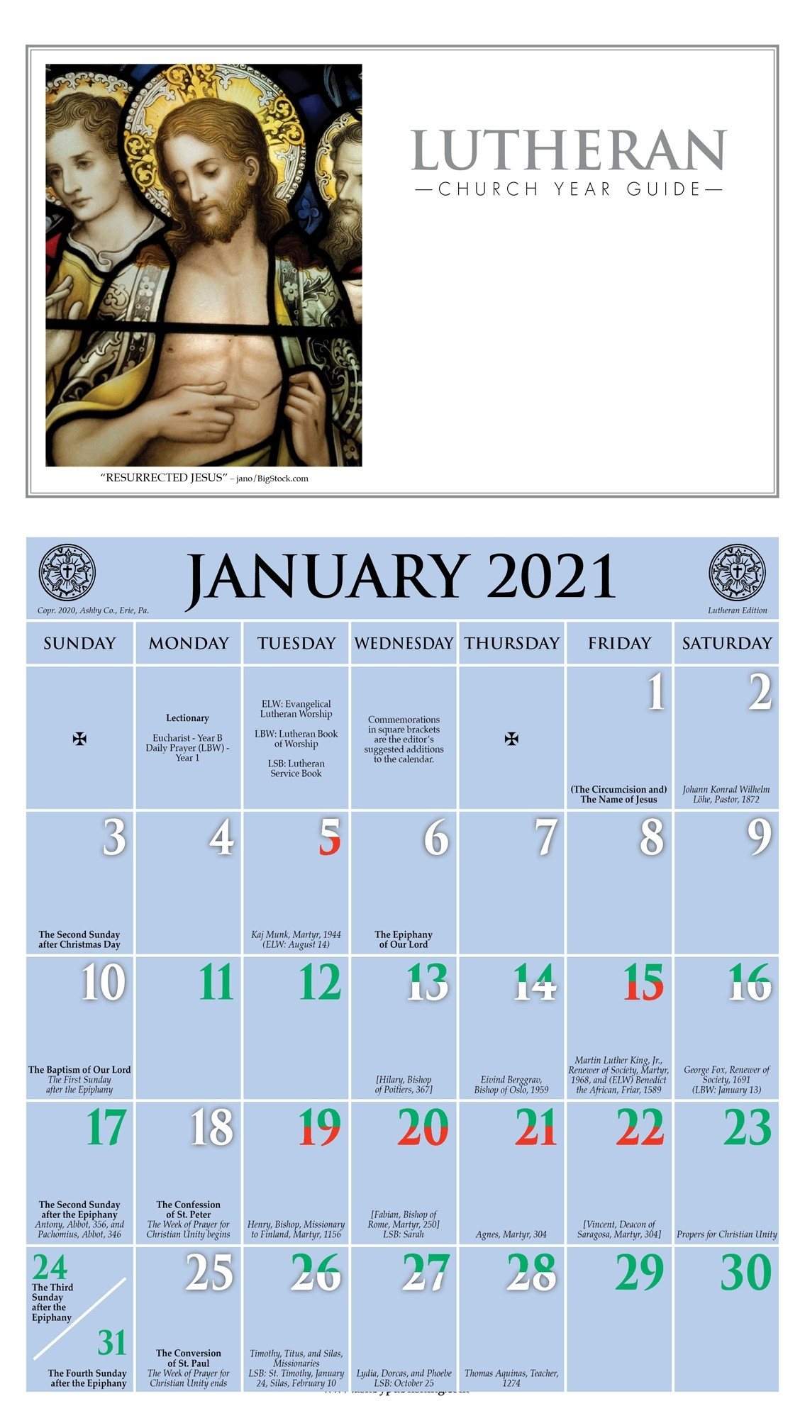 2021 Church Year Calendar  Revised Common Lectionary 2021 Printable