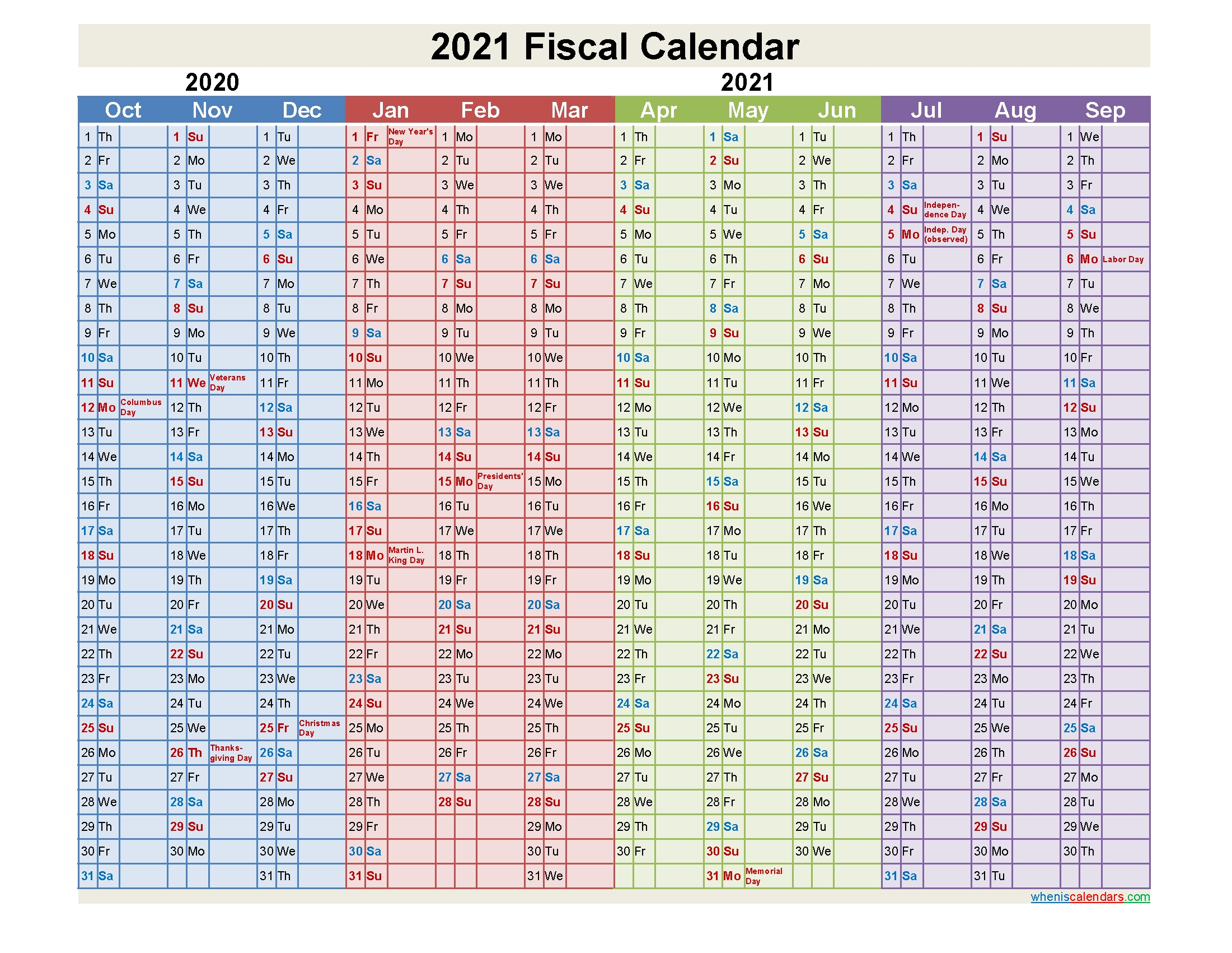 2021 Fiscal Calendar – Template No.fiscal21Y2 – Free 2020  Calendar 2021 2021 Financial Year