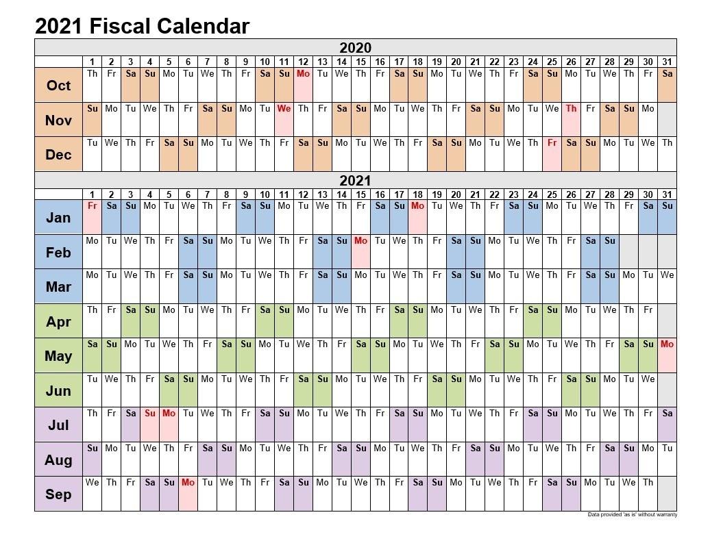 2021 Fiscal Calendars Landscape Format  Calendar 2021 2021 Financial Year
