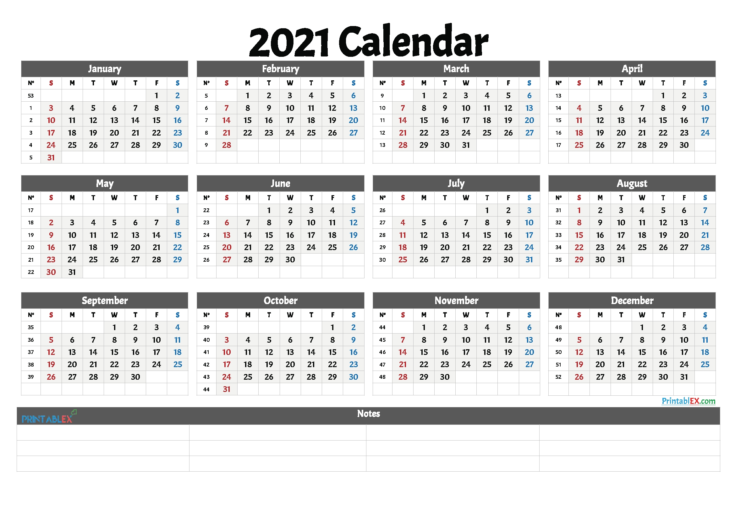2021 Free Printable Yearly Calendar With Week Numbers – Free  2021 Calendar Weeks Numbered