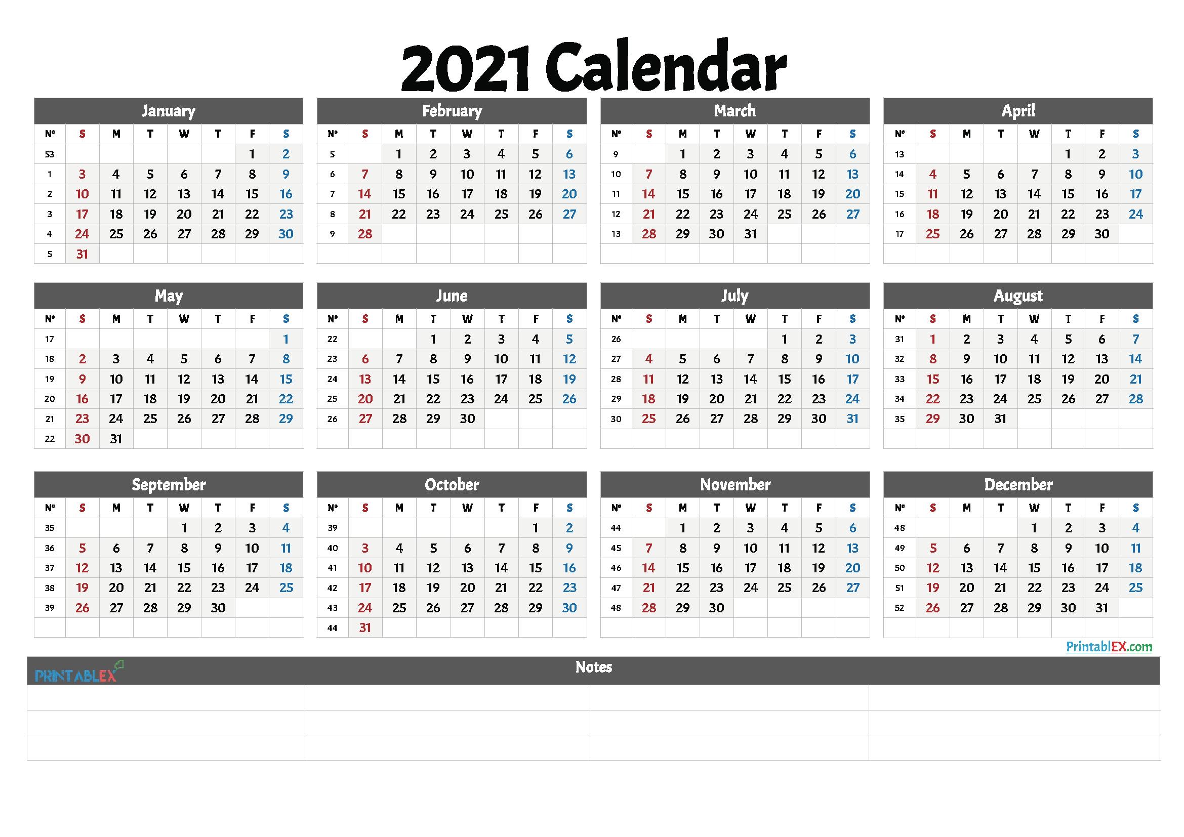 2021 Free Printable Yearly Calendar With Week Numbers – Free  2021 Calendar Weeks Numbered