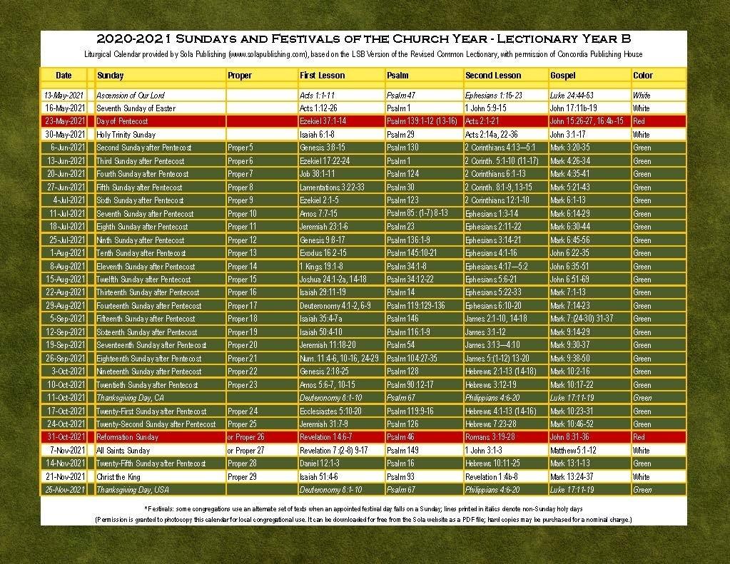 2021 Liturgical Calendar (Year B) K-2021 | Sola Publishing  Lectionary 2021