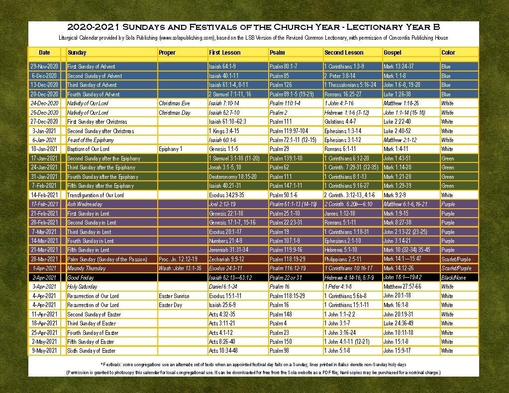 2021 Liturgical Calendar (Year B) K-2021 | Sola Publishing  Printable Lectionary Calendar