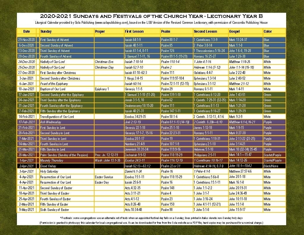 2021 Liturgical Calendar (Year B) K-2021   Sola Publishing  Printable Lectionary