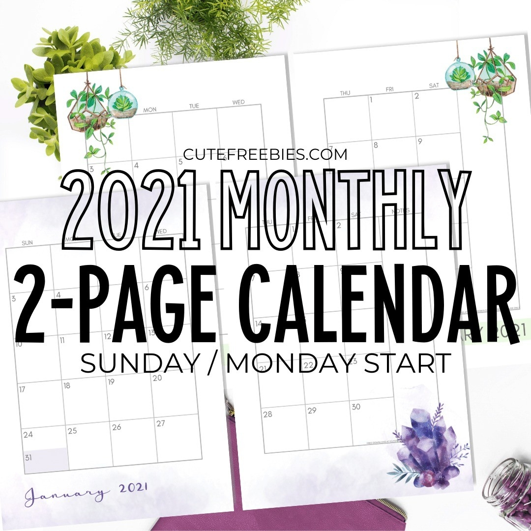 2021 Monthly Calendar Two Page Spread – Free Printable  Printable Calendar Monthly 2021 Free