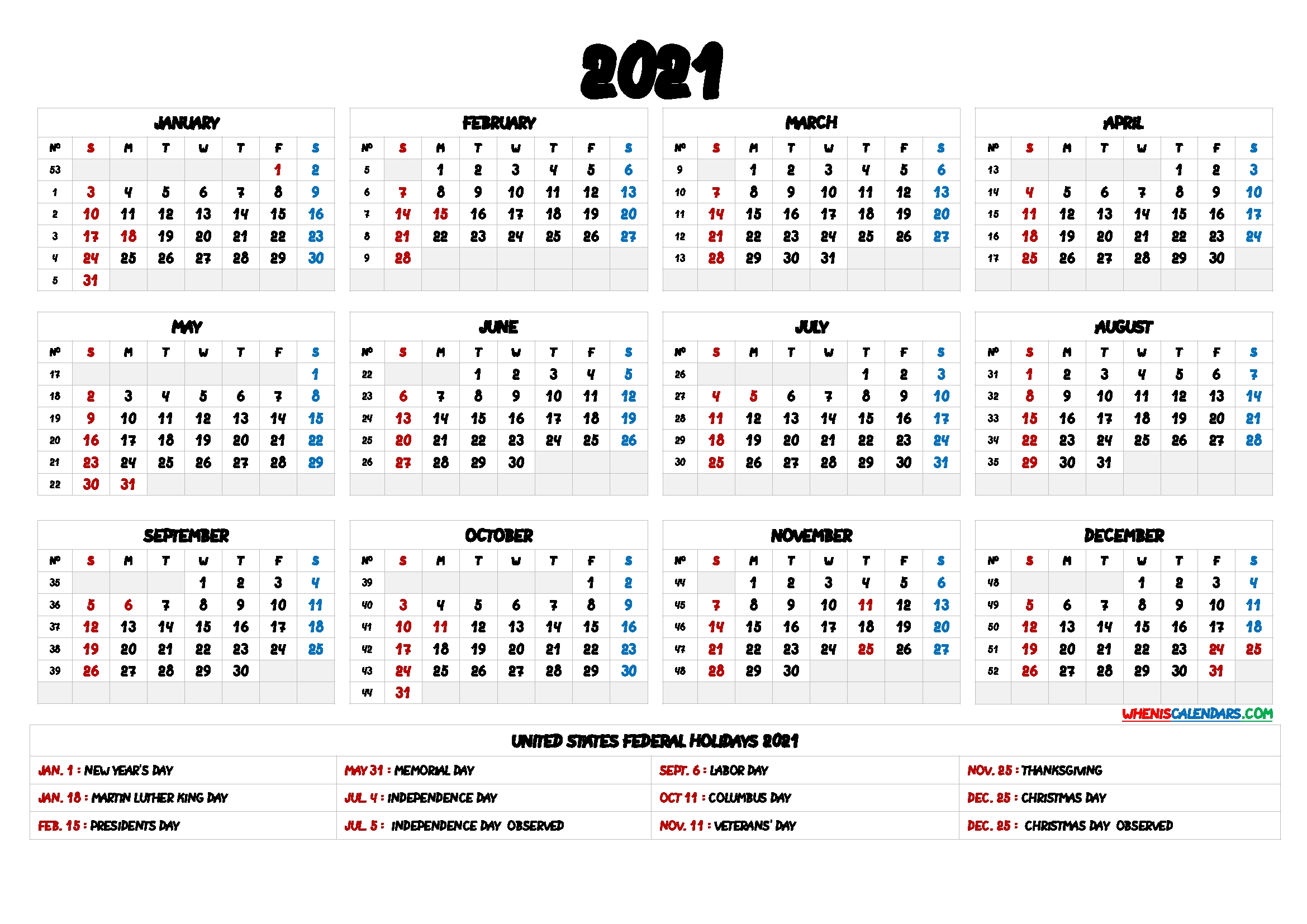 2021 One Page Calendar Printable – 9 Templates – Free 2020  2021 Calendar Printable One Page Free