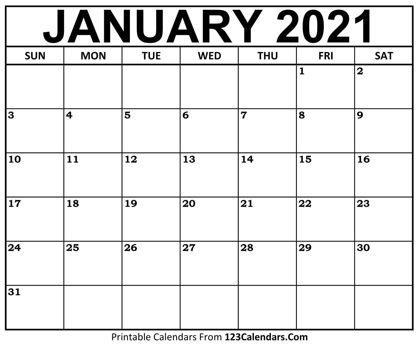 2021 Printable Calendar | 123Calendars  Calendar 2021 2021 2021 Printable Free