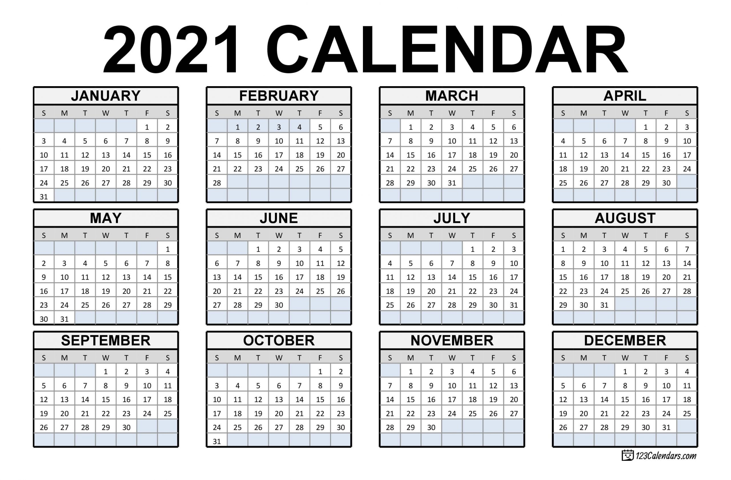 2021 Printable Calendar | 123Calendars  Checkbook Size Calendar Printable
