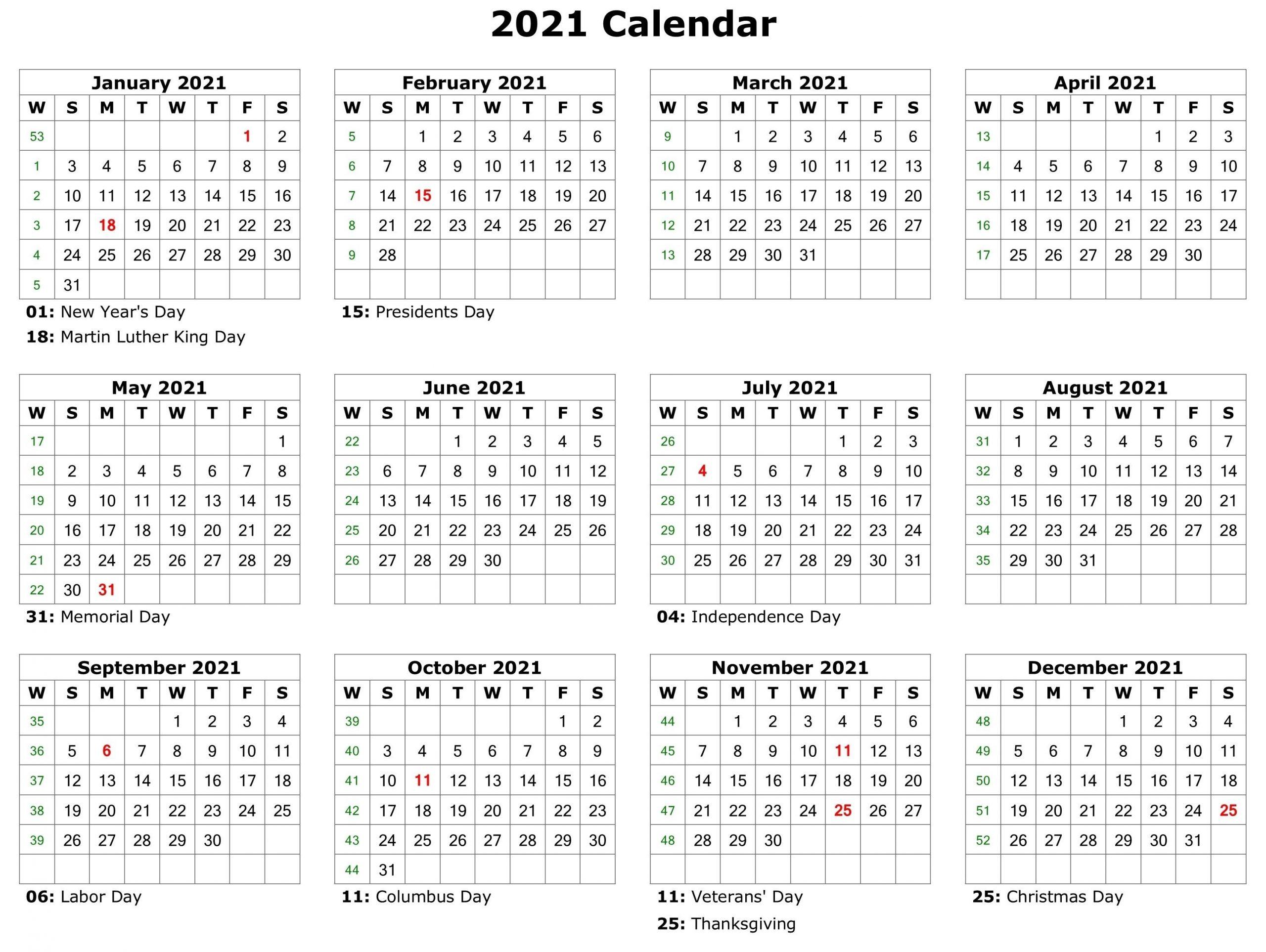 2021 Printable Calendar | Monthly Calendar Printable  2021 Free Printable Calendar Pdf