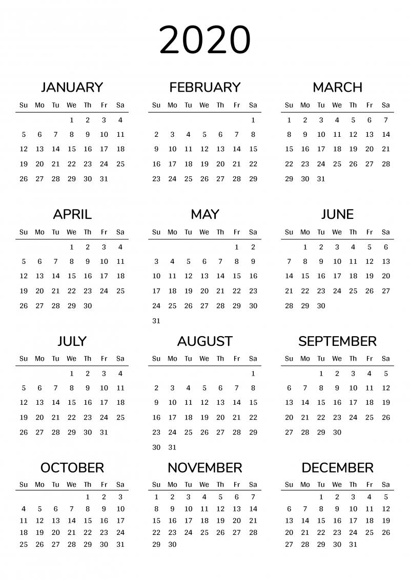 2021 Printable Calendar  Printable 2021 Year Grid Style