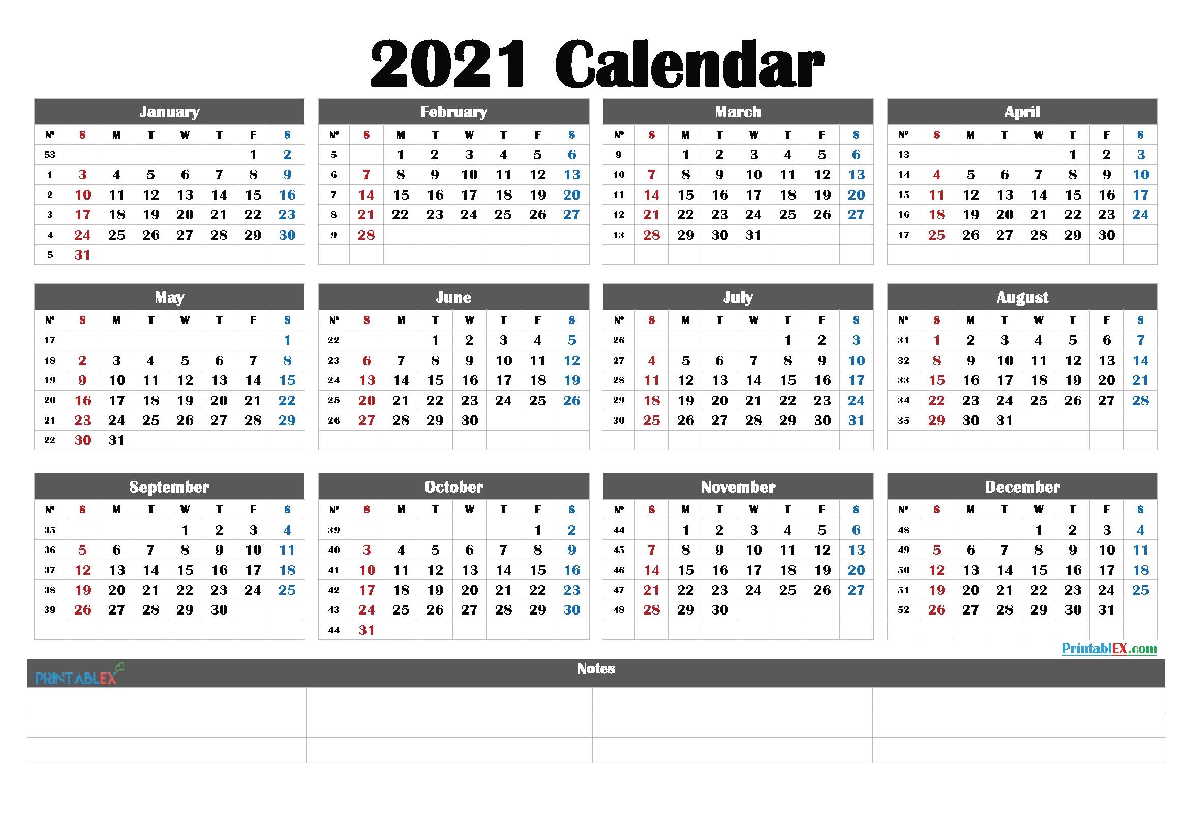 2021 Printable Yearly Calendar With Week Numbers – Free  2021 Calendar Weeks Numbered
