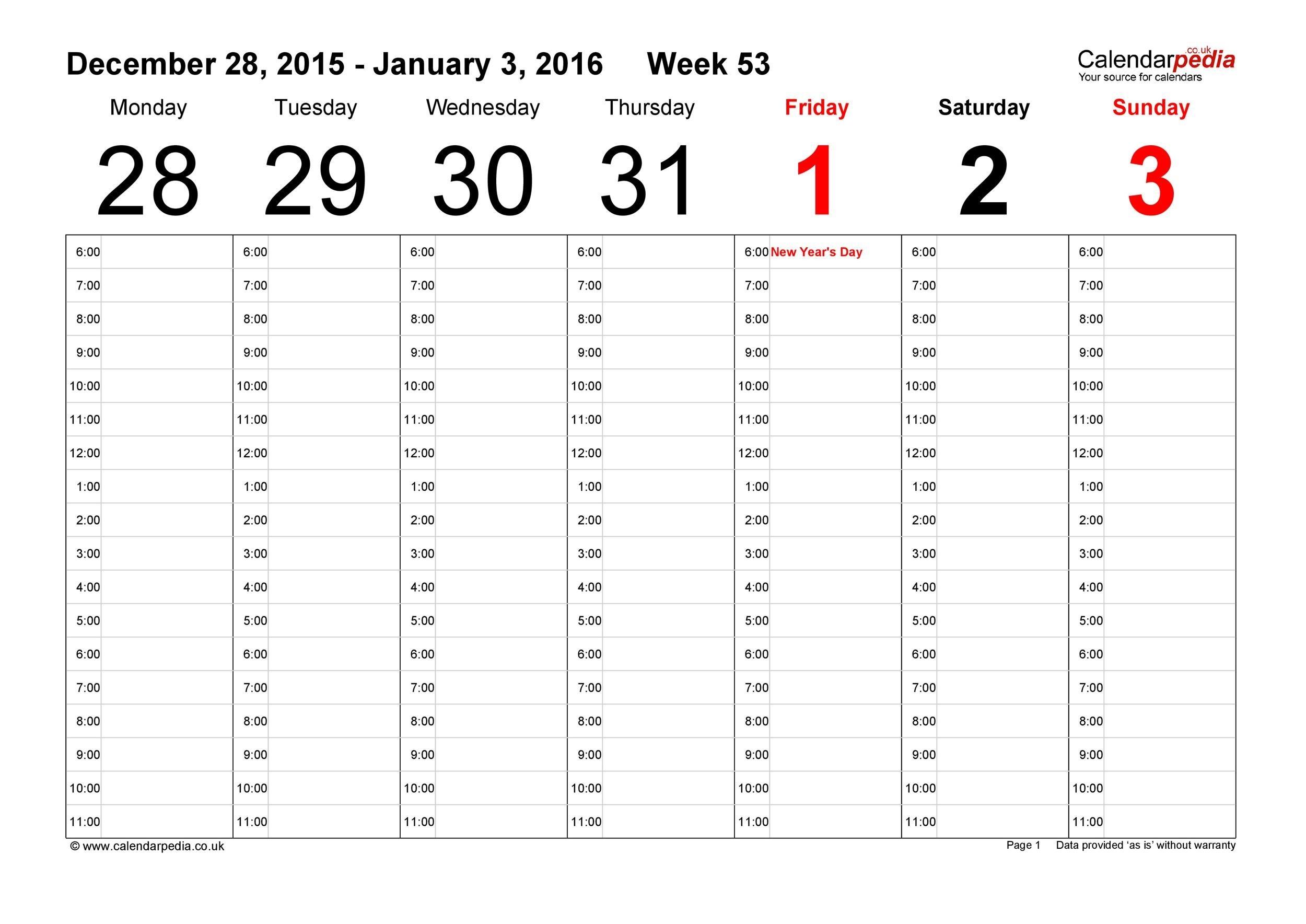 26 Blank Weekly Calendar Templates [Pdf, Excel, Word] ᐅ  Excel Calendar Templates Weekly
