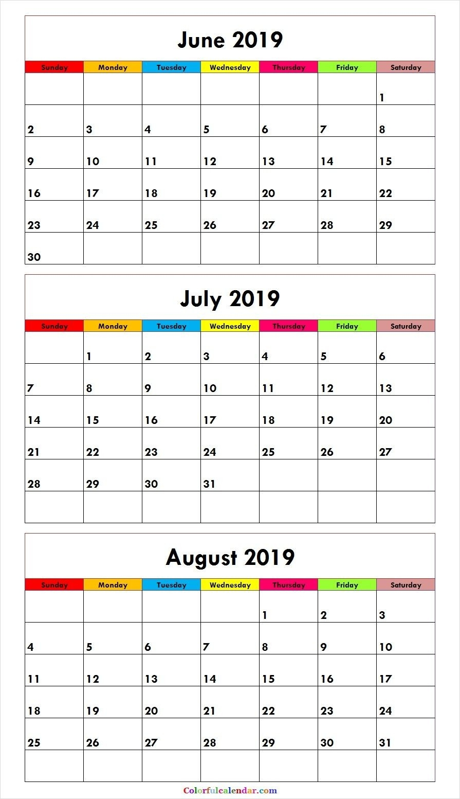 3 Month June July August 2019 Calendar Green | June Calendar  3 Month Summer Calendar