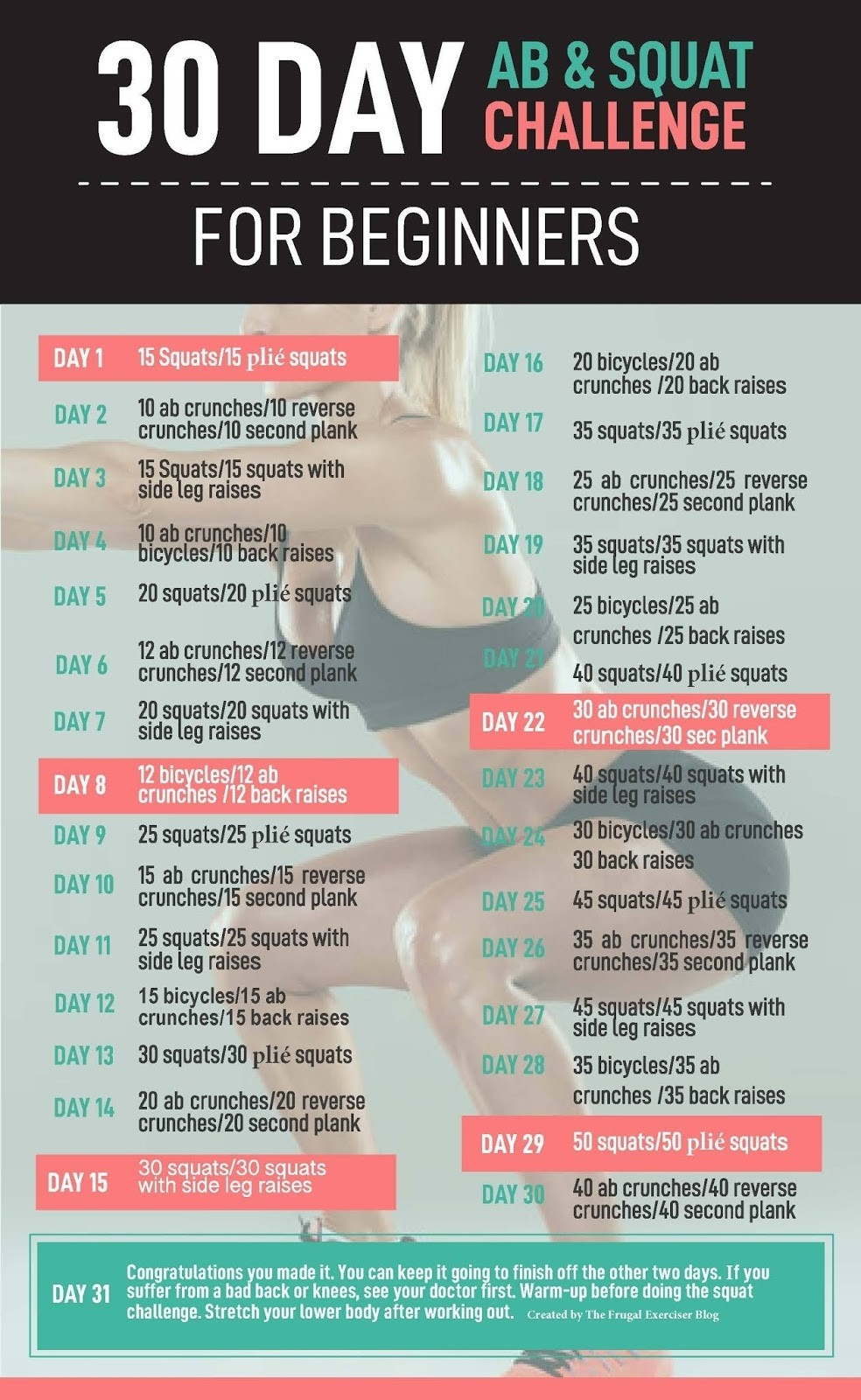30 Day Ab And Squat Challenge For Beginners  Fitness Challenges Pdf