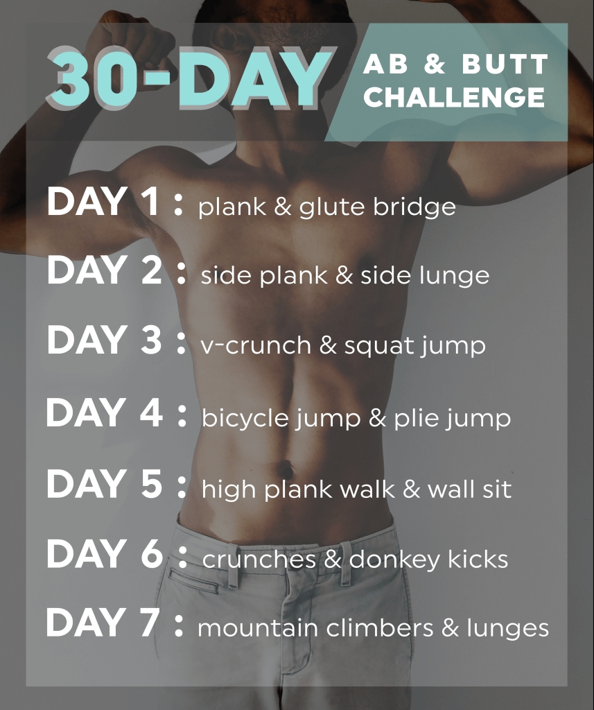 30 Day Butt & Ab Challenge | 20 Fit  30 Day Fitness Challenge Printable For Studios