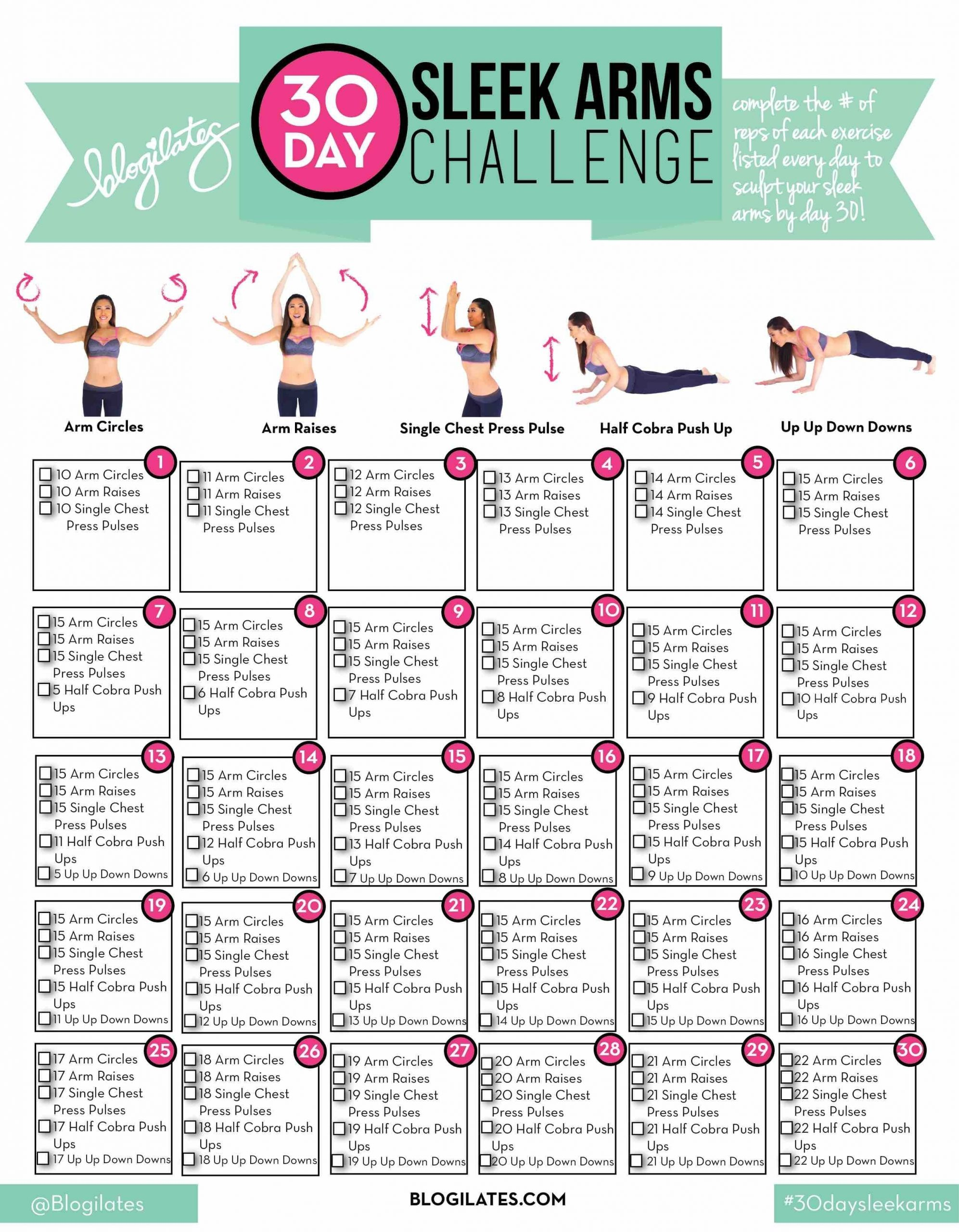 30 Day Sleek Arms Challenge (Blogilates: Fitness, Food, And  30 Day Fitness Challenge Printable For Studios