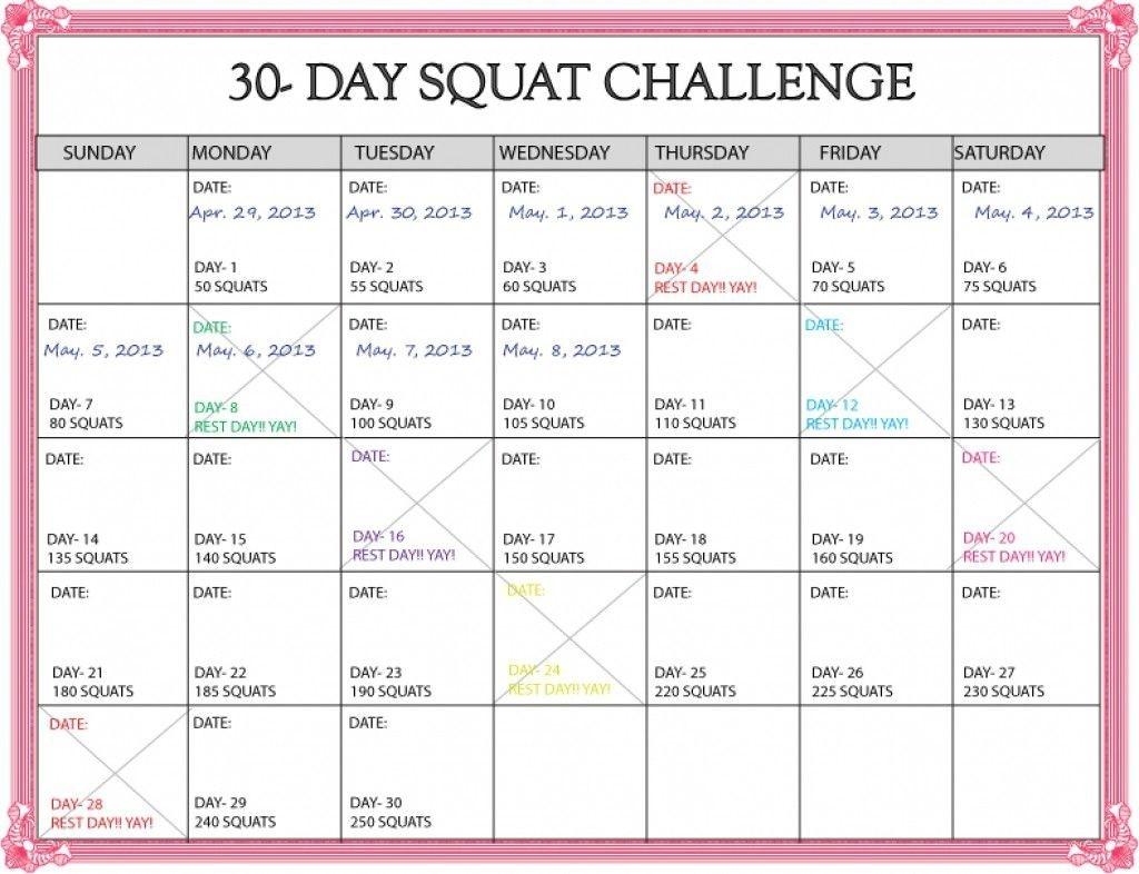 30 Day Squat Challenge Calendar Printable Online Squat  Printable Blank 30 Day Challenge Chart