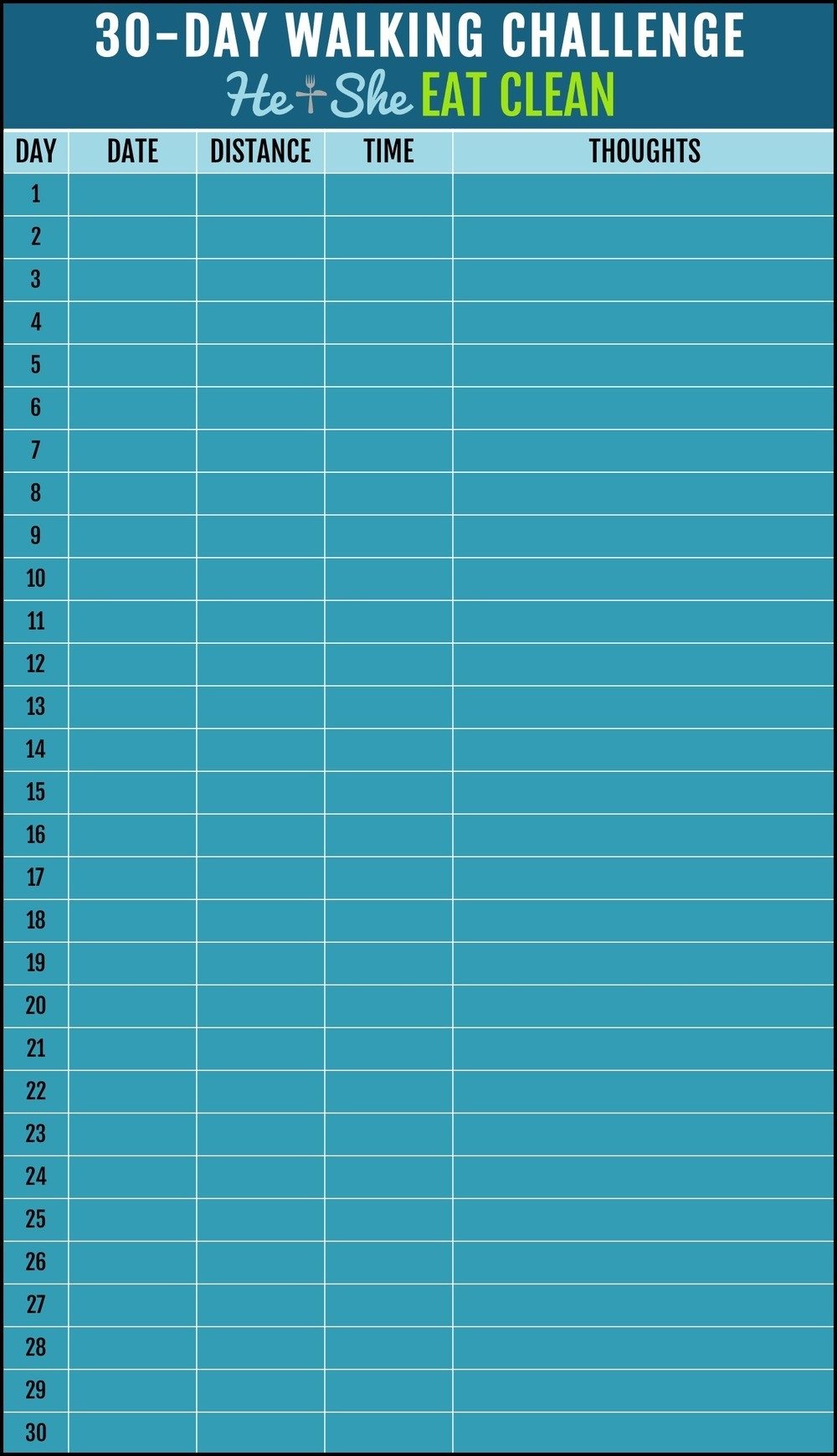30-Day Walking Challenge With Printable Tracking Chart  Printable Blank 30 Day Challenge Chart
