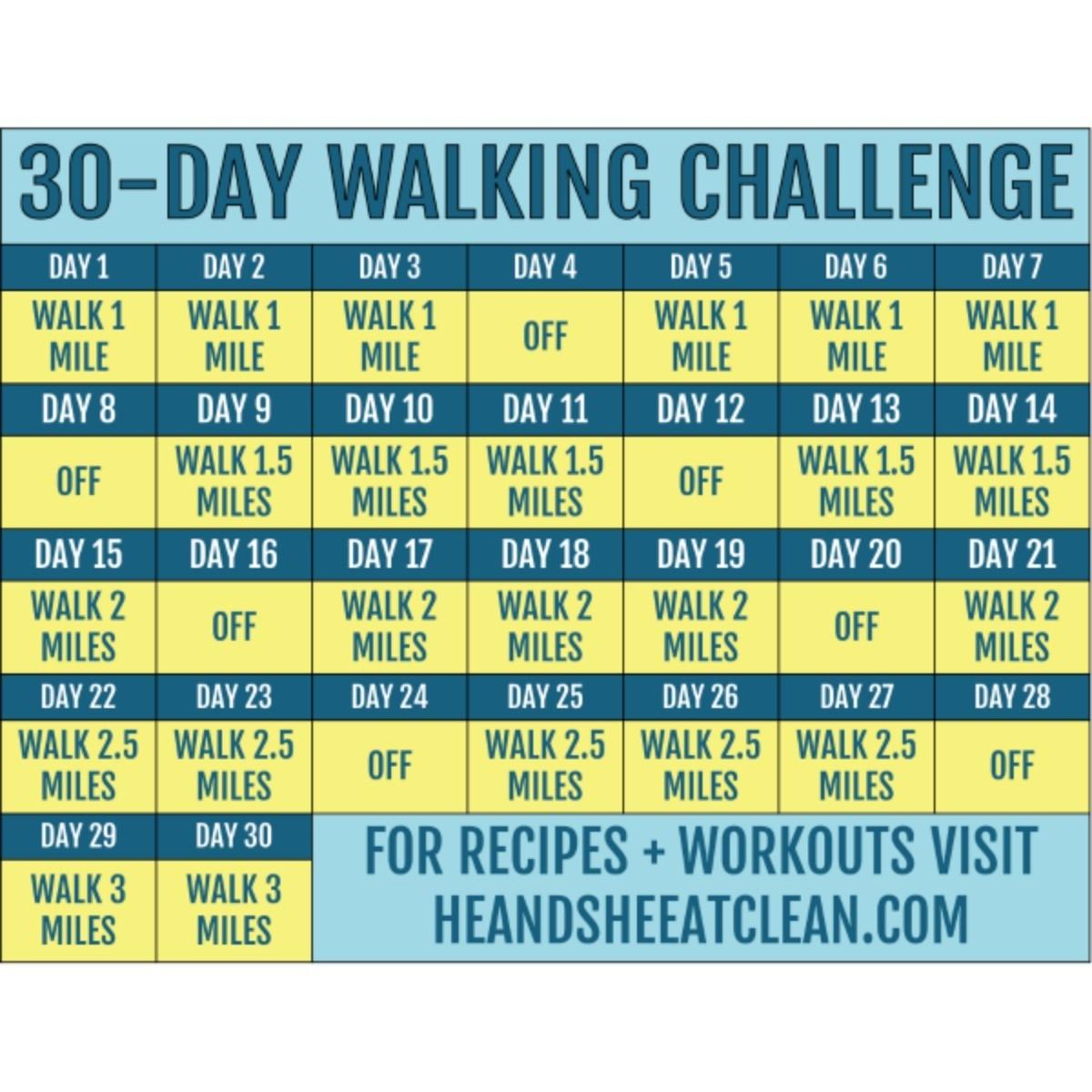 30-Day Walking Challenge With Printable Tracking Chart  Wellness Challenge Chart