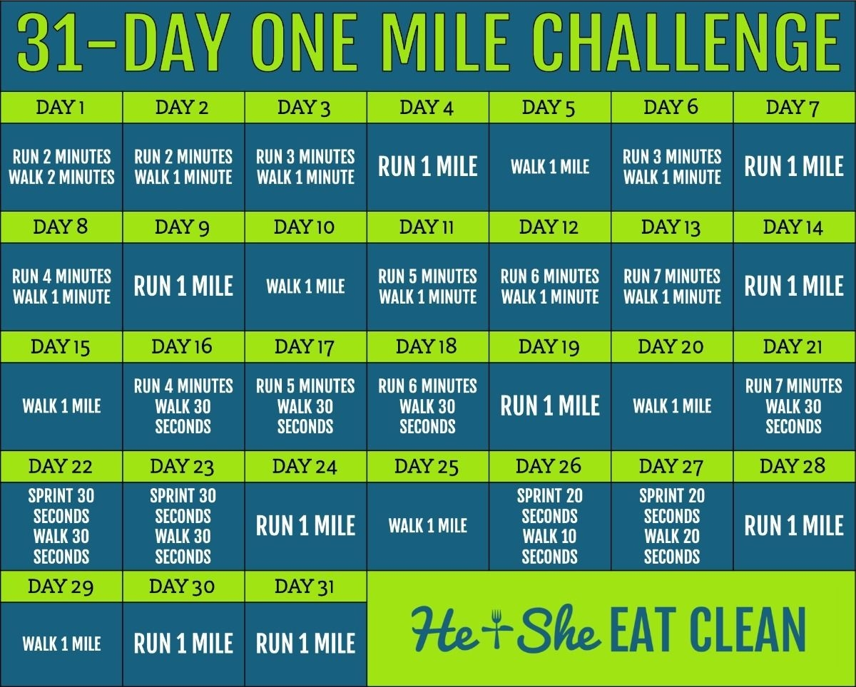 31-Day Mile A Day Challenge For Beginners & Experts In 2020  30 Day Fitness Challenge Printable For Studios