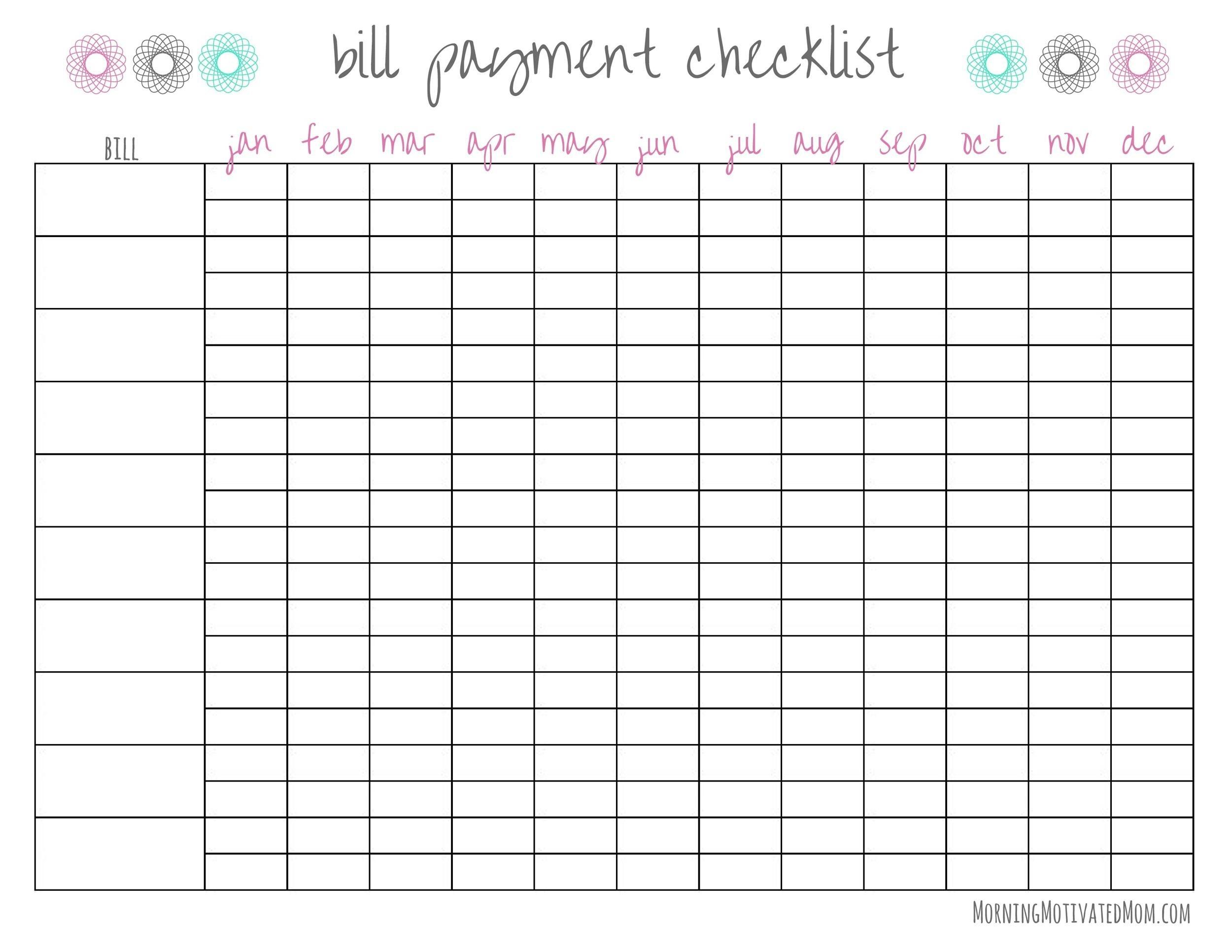 33 Free Bill Pay Checklists & Bill Calendars (Pdf, Word & Excel)  Bill Pay Sheet Pdf