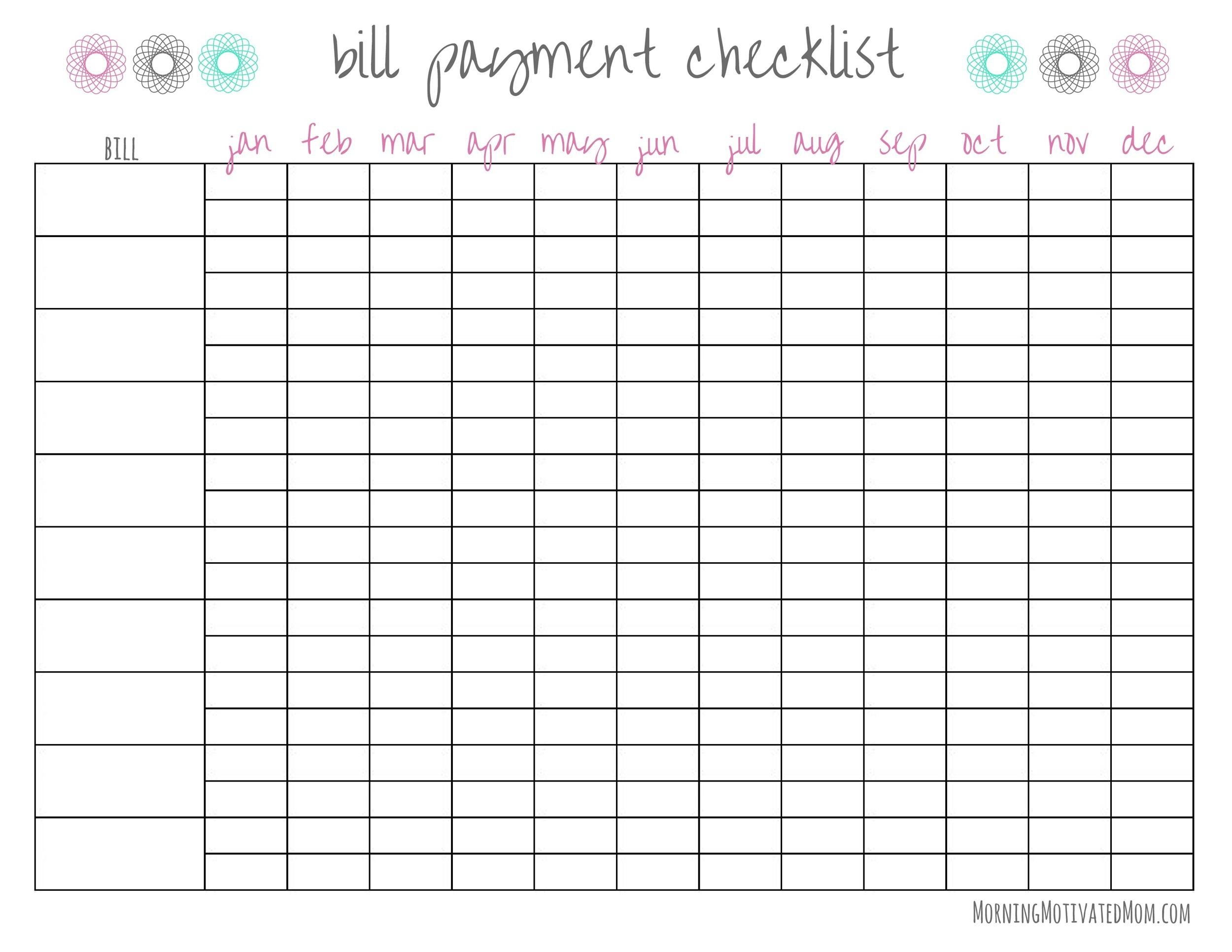 33 Free Bill Pay Checklists & Bill Calendars (Pdf, Word & Excel)  Bill Payment Spreadsheet Printable
