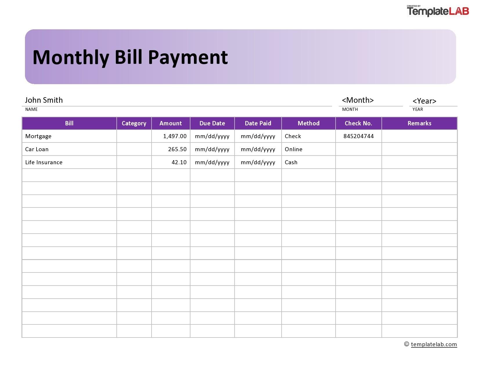 33 Free Bill Pay Checklists & Bill Calendars (Pdf, Word & Excel)  Free Printable Bill Payment Log
