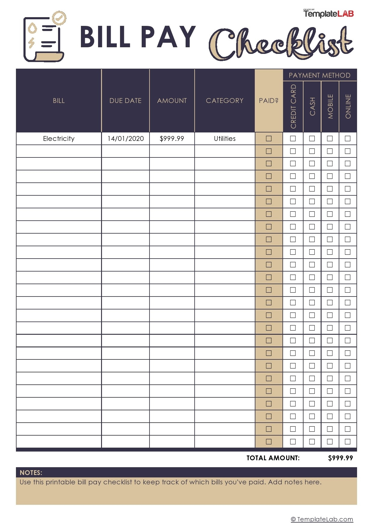 33 Free Bill Pay Checklists & Bill Calendars (Pdf, Word & Excel)  Monthly Bill Checklist Excel