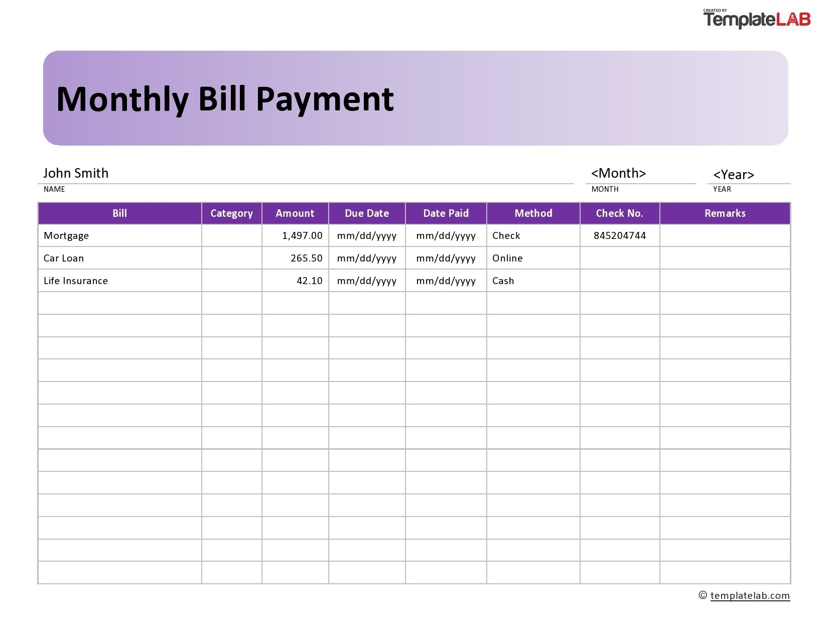 33 Free Bill Pay Checklists & Bill Calendars (Pdf, Word & Excel)  Monthly Payment Sheet