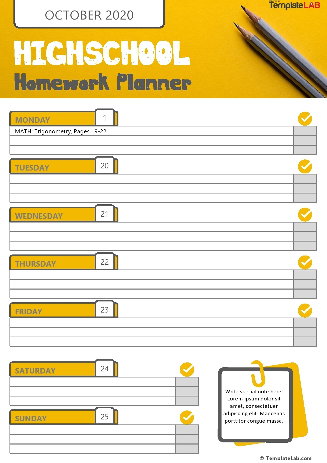 37 Printable Homework Planners (Only The Best) ᐅ Templatelab  Homework Templates Free
