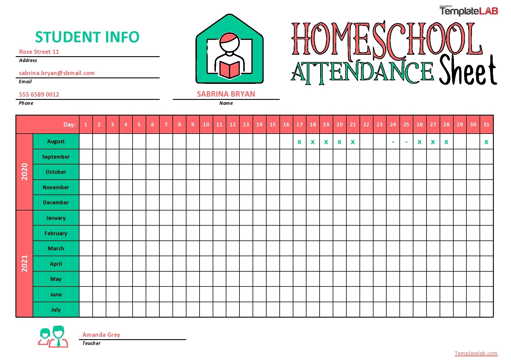 43 Free Printable Attendance Sheet Templates - Templatelab  Free Attendance Sheet Pdf 2021
