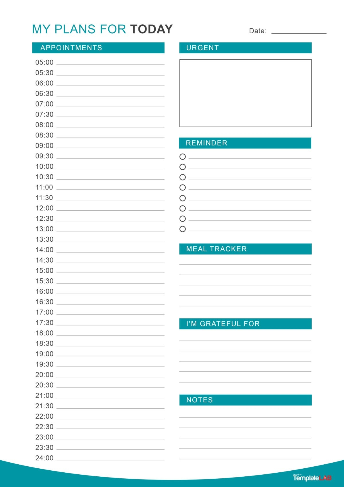 47 Printable Daily Planner Templates (Free In Word/Excel/Pdf)  Printable Day Calendar