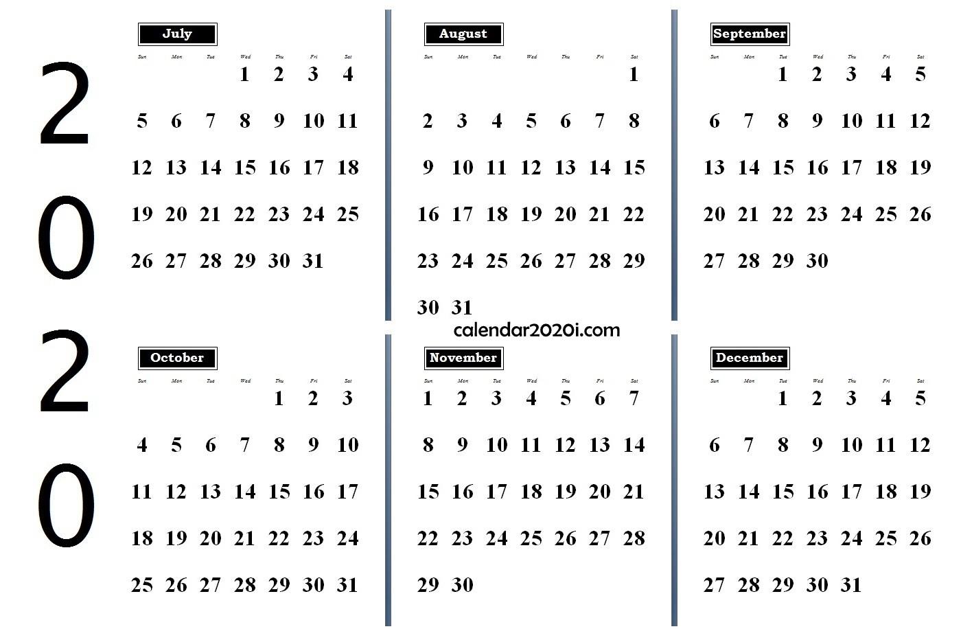 6 Months 2020 Half Year Printable Calendar | Calendar 2020  Australian 20 20 Six Month Calendars Template